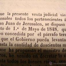 Manuscritos antiguos: ORDEN SAN JUAN JERUSALÉN, MALTA. VENTA DE BIENES DE LA ORDEN POR DECRETO DE 1848. SELLO SEGUNDO. Lote 43441105