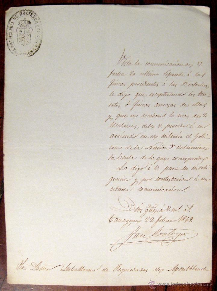 TARRAGONA. HACIENDA PÚBLICA. APREMIO. MANUSCRITO. 1869 (Coleccionismo - Documentos - Manuscritos)