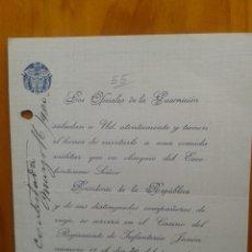 Manuscritos antiguos: BELLO DOCUMENTO INVITACION COMIDA MILITAR EN HONOR PRESIDENTE SUAREZ EN CASINO REGIMIENTO JUNIN.1920. Lote 43776189