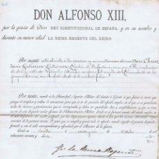 Manuscritos antiguos: DOCUMENTO ORIGINAL DE ALFONSO XIII REY CONSTITUCIONAL DE ESPAÑA. VALLADOLID: 1892. 23X33. MANUSCRITO. Lote 43845781