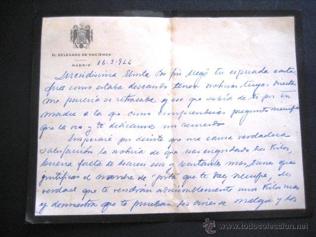 CARTA DE LUTO MANUSCRITA. DELEGADO DE HACIENDA. MADRID 1944. . (Coleccionismo - Documentos - Manuscritos)