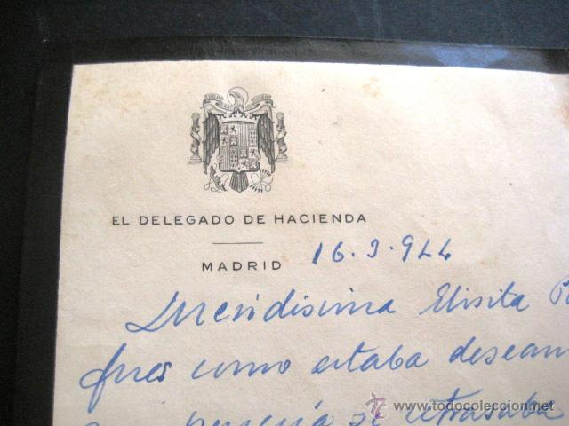 Manuscritos antiguos: CARTA DE LUTO MANUSCRITA. DELEGADO DE HACIENDA. MADRID 1944. . - Foto 2 - 44273435