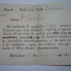 Manuscritos antiguos: ANTIGUO DOCUMENTO EN PAPEL.....AÑO...1.813. Lote 44386103