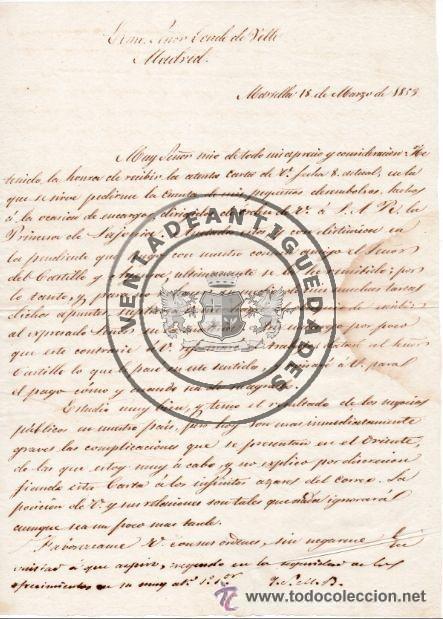 JUAN DE PRAT ZEA BERMUDEZ - CARTA ENVIADA AL CONDE DE VELLE EN 1853 (Coleccionismo - Documentos - Manuscritos)