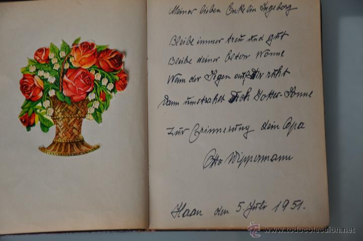 ANTIGUA LIBRETA CON POESIAS MANUSCRITAS EN ALEMÁN , ALEMANIA AÑO 1951 Y 1952 Y CROMOS (Coleccionismo - Documentos - Manuscritos)