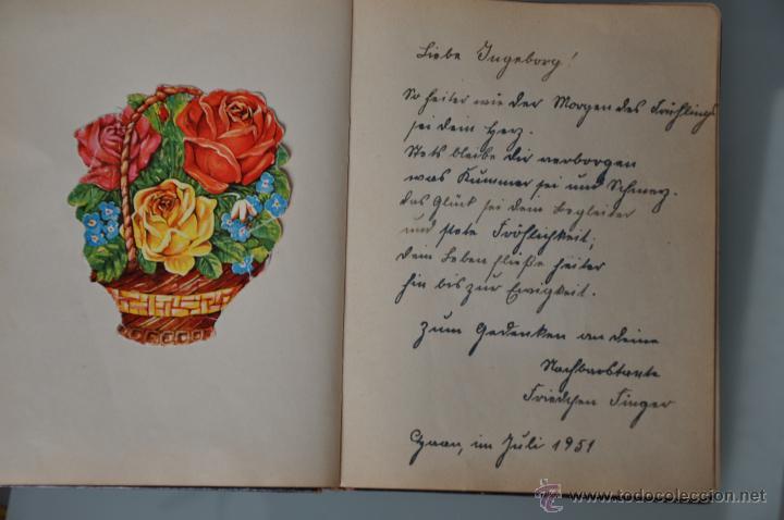 Manuscritos antiguos: antigua libreta con poesias manuscritas en alemán , alemania año 1951 y 1952 y cromos - Foto 3 - 44931789