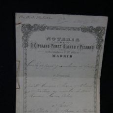 Manuscritos antiguos: DOCUMENTO NOTARIAL NOTARIA CIPRIANO PEREZ ALONSO PIZARRO MADRID BORDADORES CANCELACIÓN HIPOTECA 1881. Lote 45150490
