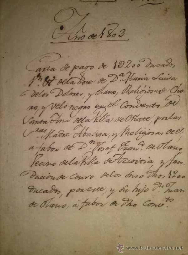 MANUSCRITO DEL CONVENTO DE SANTA ANA DE OÑATE 1803 (Coleccionismo - Documentos - Manuscritos)