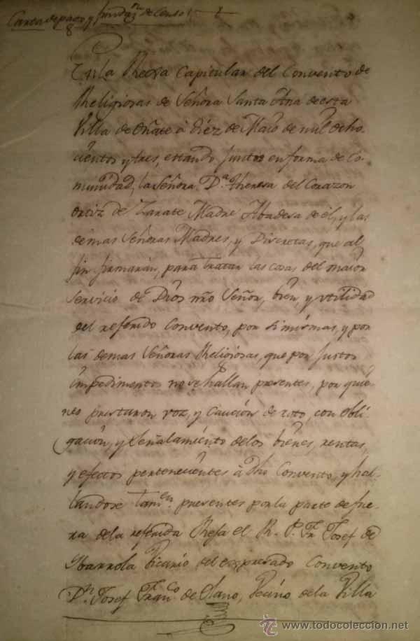 Manuscritos antiguos: MANUSCRITO DEL CONVENTO DE SANTA ANA DE OÑATE 1803 - Foto 2 - 45772563