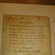 Manuscritos antiguos: 1788 - MANUSCRITO - EJECUTORIA - PALACIOS DE RIO PISUERGA BURGOS - PASTOS LEÑA Y CAZA. Lote 45896707