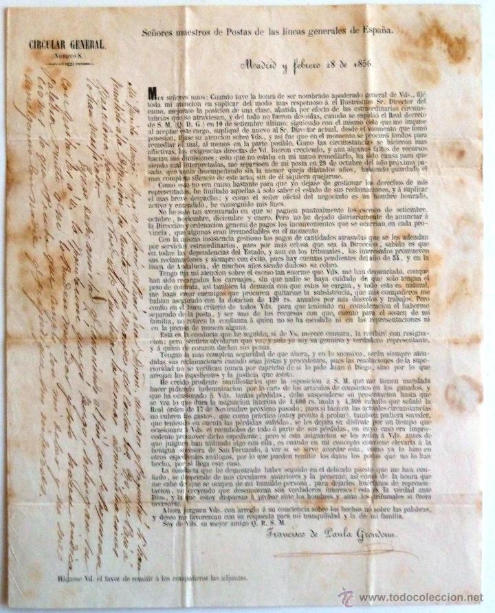 CIRCULAR GENERAL CORREOS 1856. NUMERO 8. FIRMADO POR FRANCISCO DE PAULA GRONDONA. CIRCULADA. (Coleccionismo - Documentos - Manuscritos)