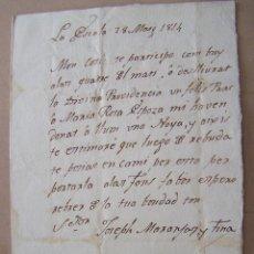 Manuscritos antiguos: 1814 LA ESCALA A PALAFRUGELL * CARTA MANUSCRITA EN CATALAN ANUNCIO DE NACIMIENTO. Lote 46627089