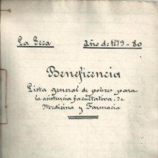 Manuscritos antigos: 1879-80 LA SECA VALLADOLID - BENEFICENCIA - LISTA DE POBRES PARA ASISTENCIA MEDICINA FARMACIA. Lote 46791377
