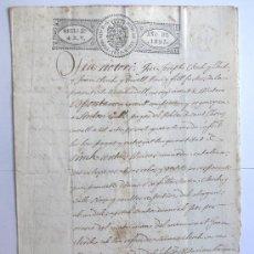 Manuscritos antiguos: SABADELL 1825 / MANUSCRITO PAPEL SELLADO 3 CLASE 4 REALES VELLON / SELLO SECO FERNANDO VII. Lote 47068238