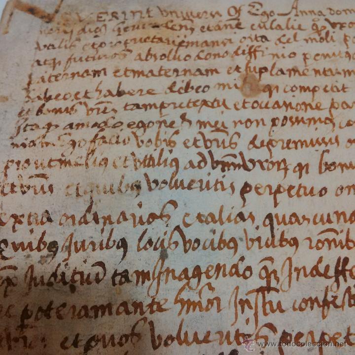 MANUSCRITO DE PERGAMINO LETRAS GOTICAS 1.575 - GIRONA (Coleccionismo - Documentos - Manuscritos)