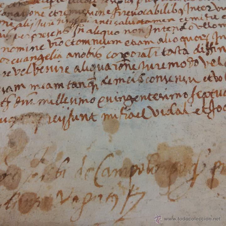 Manuscritos antiguos: MANUSCRITO DE PERGAMINO LETRAS GOTICAS 1.575 - GIRONA - Foto 2 - 47269182