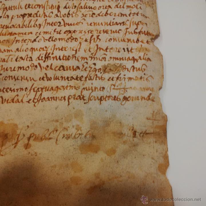 Manuscritos antiguos: MANUSCRITO DE PERGAMINO LETRAS GOTICAS 1.575 - GIRONA - Foto 3 - 47269182
