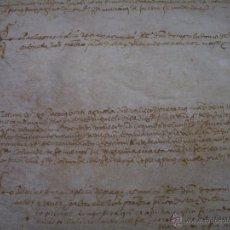 Manuscritos antiguos: ANTIGUA ESCRITURA DE PERGAMINO Y DE GRAN TAMAÑO....AÑO 1.572...SANTA COLOMA DE FARNES.. (GIRONA).. Lote 47270575