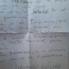 Manuscritos antiguos: CARTA MANUSCRITO Y AUTOGRAFO DE FERNANDO GUILLEN. Lote 47524369