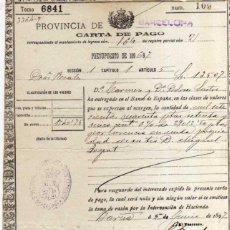 Manuscritos antiguos: CARTA DE PAGO - AÑO 1896 / 1897. Lote 47688097