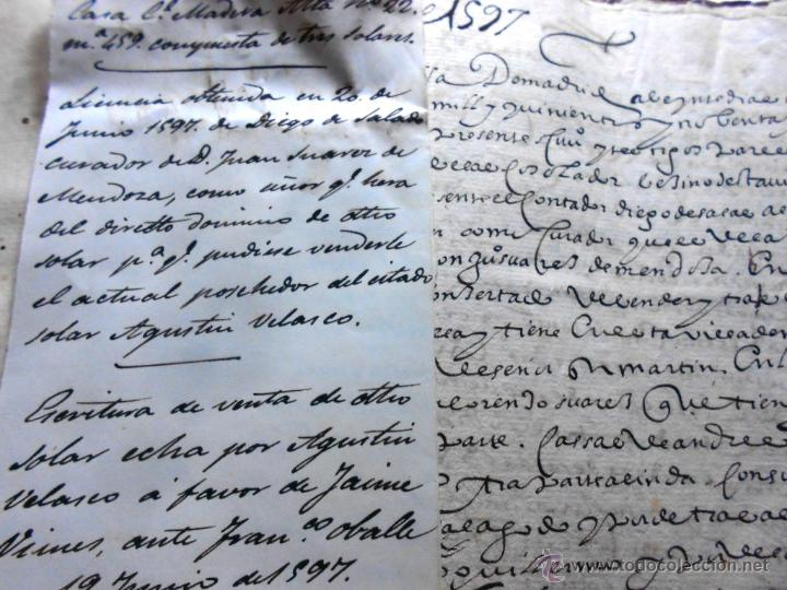 Manuscritos antiguos: MANUSCRITO VILLA MADRID S- XVI-XVIII, UNAS 60 ESCRITURAS CON 250 FOLIOS SOLAR CALLE MADERA ALTA---- - Foto 3 - 47798296