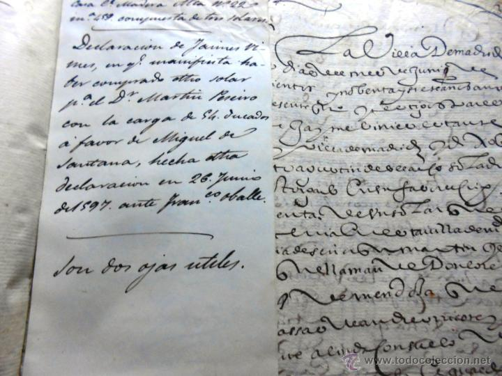Manuscritos antiguos: MANUSCRITO VILLA MADRID S- XVI-XVIII, UNAS 60 ESCRITURAS CON 250 FOLIOS SOLAR CALLE MADERA ALTA---- - Foto 5 - 47798296