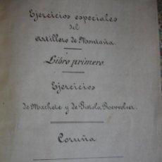 Manuscritos antiguos: ARTILLERIA DE MONTAÑA.EJERCICIOS DE MACHETE.REVOLVER,CAÑON ,CABALLOS .CORUÑA.1866. Lote 47890680
