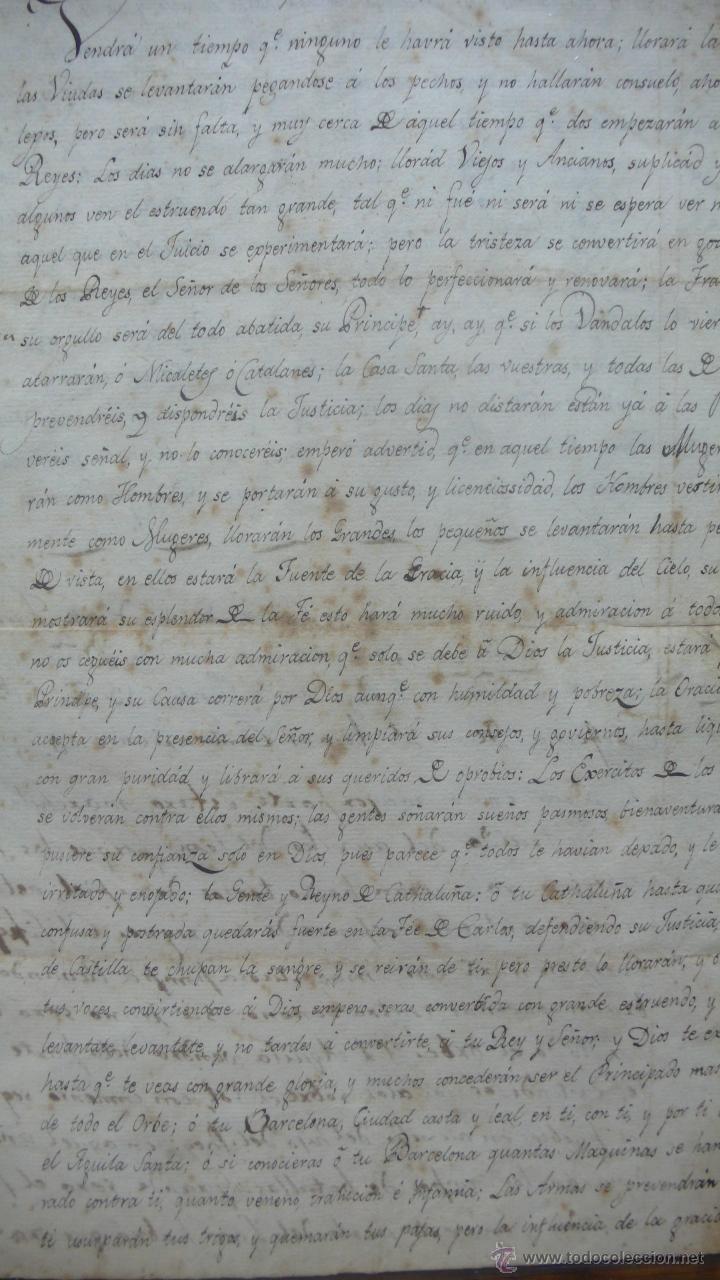 COPIA MANUSCRITA DE UNA PROFECÍA DE SAN VICENTE FERRER SOBRE CATALUÑA. (Coleccionismo - Documentos - Manuscritos)