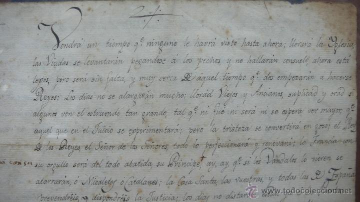 Manuscritos antiguos: COPIA MANUSCRITA DE UNA PROFECÍA DE SAN VICENTE FERRER SOBRE CATALUÑA. - Foto 2 - 48902035