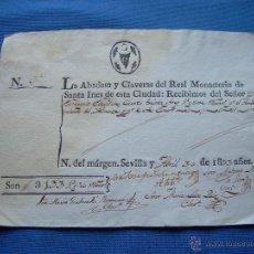 Manuscritos antiguos: DOCUMENTO RECIBO DE LAS ABADESAS Y CLAVERAS DEL MONASTERIO DE SANTA INES DE SEVILLA - 1833. Lote 49380384