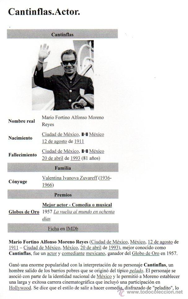 Manuscritos antiguos: SIGNED, AUTOGRAPH. FIRMA. MARIO MORENO CANTINFLAS. LEER - Foto 2 - 49594520