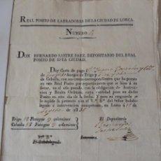 Manuscritos antiguos: REAL POSITO DE LABRADORES DE LORCA, AÑO 1836. CARTA DE PAGO TRIGO Y CEBADA. DOCUMENTO ORIGINAL.. Lote 49647439