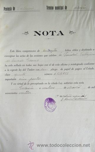 VALENCIA LIBRO DE ACTAS DE LA SOCIEDAD DE CARNICEROS 1923 - 1929 (Coleccionismo - Documentos - Manuscritos)