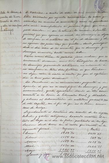 Manuscritos antiguos: VALENCIA LIBRO DE ACTAS DE LA SOCIEDAD DE CARNICEROS 1923 - 1929 - Foto 2 - 49864697
