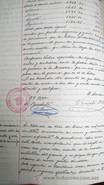 Manuscritos antiguos: VALENCIA LIBRO DE ACTAS DE LA SOCIEDAD DE CARNICEROS 1923 - 1929 - Foto 3 - 49864697