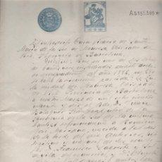 Manuscritos antiguos: CERTIFICADO DE BAUTISMO - DOCUMENTO DE BAUTISMO CON TIMBRE DEL ESTADO, MANRESA 1882 MANUSCRITO . Lote 50094513
