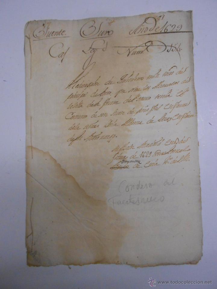 MANUSCRITO (ZAMORA) 1629 CONDESA DE FUENTESAUCO ALDONZA DE DEZA.REDENCION DE 500 MIL MARAVEDIES (Coleccionismo - Documentos - Manuscritos)
