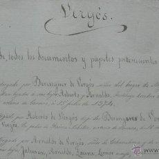 Manuscritos antiguos: VERGÓS. INDICE DE TODOS LOS DOCUMENTOS Y PAPELES PERTENECIENTES Á DICHA FAMILIA Y PATRIMONIO. S.XIX.. Lote 50496777
