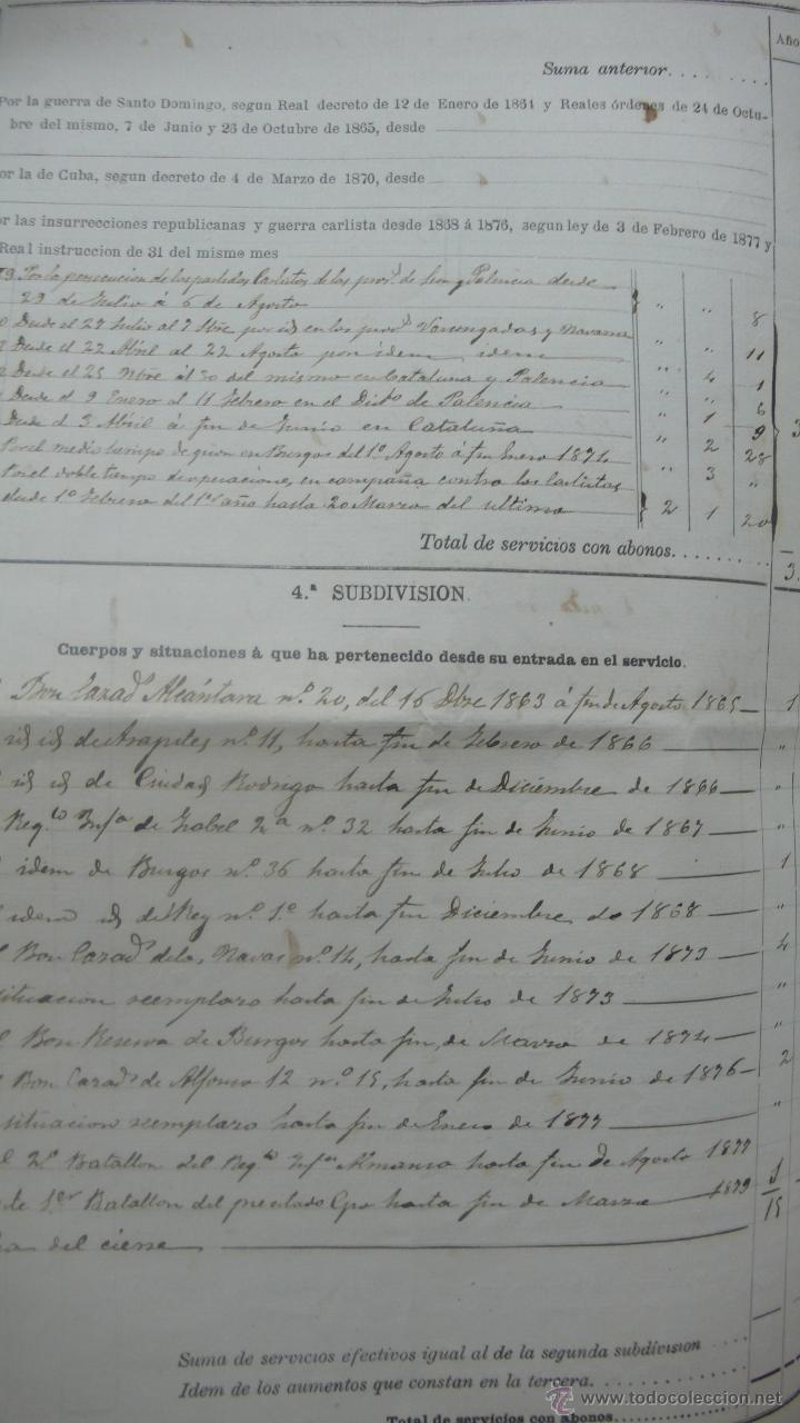 Manuscritos antiguos: [Militaria. REGIMIENTO DE INFANTERÍA DE ALMANSA.] Gerona, 1879. - Foto 3 - 50497591