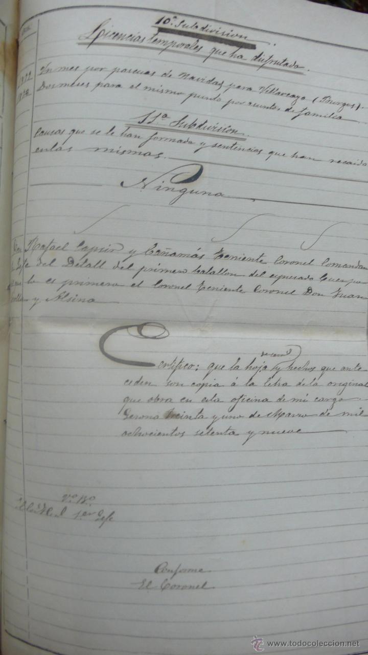 Manuscritos antiguos: [Militaria. REGIMIENTO DE INFANTERÍA DE ALMANSA.] Gerona, 1879. - Foto 5 - 50497591