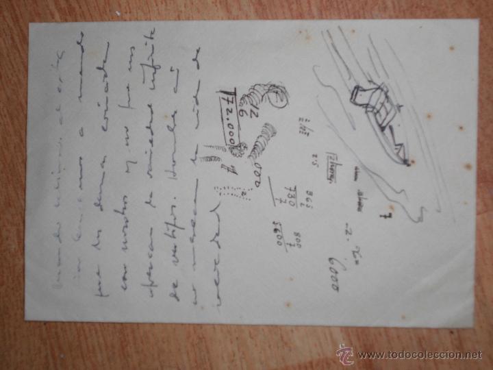 ANTIGUO MANUSCRITO CON DIBUJO EN SOBRE DE CARTA (Coleccionismo - Documentos - Manuscritos)