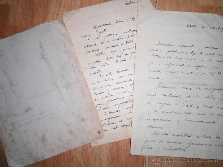 MANUSCRITO CARTAS Y DIBUJOS ANTIGUOS CADIZ 1949 DIBUJO RETRATO Y OTROS (Coleccionismo - Documentos - Manuscritos)