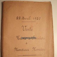 Manuscritos antiguos: ESCRITURA DE VENTA. DESPACHO DEL SEÑOR GUÉRIN, NOTARIO EN ORÁN, ARGELIA. 22 DE ABRIL DE 1920.. Lote 50986223