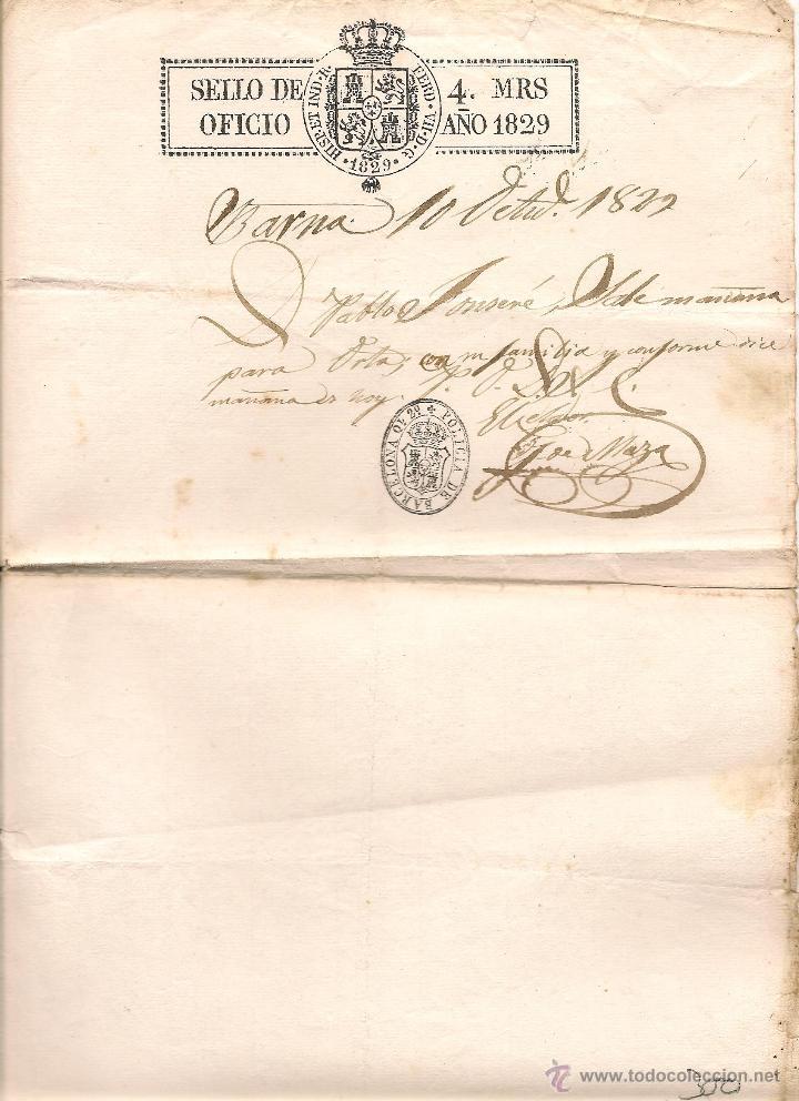 DOCUMENTO DE LA POLICIA DE BARCELONA EMITIDO EN FECHA 10 DE OCTUBRE DE 1827 (Coleccionismo - Documentos - Manuscritos)