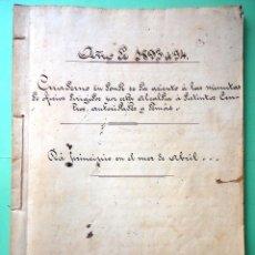 Manuscritos antiguos: CUADERNO MANUSCRITO DE MINUTAS DE OFICIOS DE LA ALCALDÍA. TENERIFE. 1893. 1894. Lote 51541077