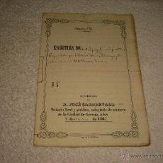 Manuscritos antiguos: ESCRITURA DE CARTA DE PAGO . NOTARIO JOSE CASADEVALL 1862 . GERONA. Lote 51791221
