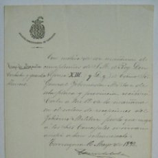 Manuscritos antiguos: TARRAGONA 1892. OFICIO DEL AYUNTAMIENTO CON MOTIVO DEL ANIVERSARIO DE S.M. DON ALFONSO XIII. Lote 51969853