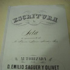 Manuscrito notarial de D. Emilio Saguer y Olivet (Barcelona 1893)