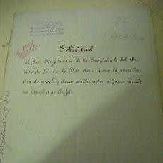 Manuscritos antiguos: MANUSCRITO NOTARIAL DE D. E REBULL (BARCELONA 1914). Lote 52323448