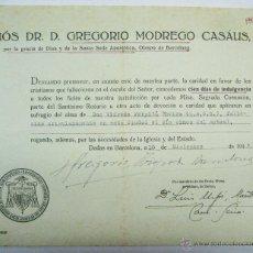 Manuscritos antiguos: BARCELONA 1947. INDULGENCIA CONCEDIDA POR EL OBISPO DE BARCELONA. Lote 52336780